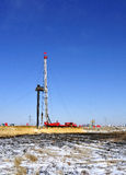 Winter drilling tower. Stands in the plains on the drilling tower Royalty Free Stock Image