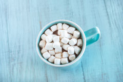 Winter Drink Hot Chocolate With Marshmallows From Above Royalty Free Stock Photo