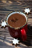 Winter drink hot chocolate, vertical stock photo