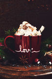Winter drink - hot chocolate with whipped cream and spices Stock Images
