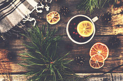 Winter drink with lemon, cranberries and spices, pine tree twigs Stock Photography