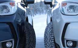 Free Winter Drive Safety. Studded Tires Against Studless Tires Stock Photo - 62822370