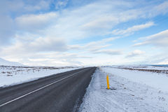Winter drive through volcanic landscape. A winter drive through volcanic landscape in Iceland Stock Photo