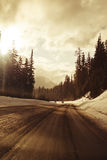 Winter Driving. Drive by shot on the way to Mountain Hood, Oregon stock photography