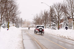 Winter driving. Driving a car after a snowfall Stock Photography