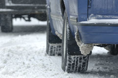 Winter Driving. Parked vehicles after a snow storm Royalty Free Stock Photos