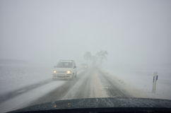 Free Winter Driving By Blizzard Royalty Free Stock Image - 66165046