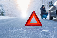 Winter driving - car breakdown Stock Photo