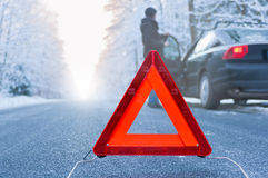 Winter driving - car breakdown Stock Photos