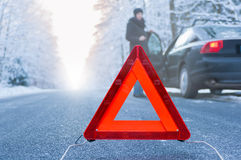 Winter driving - car breakdown Stock Photography