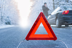 Winter driving - car breakdown Royalty Free Stock Images