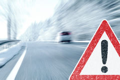 Winter Driving - Caution Ice and Snow Stock Photos