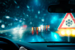 Winter Driving - Caution Stock Photography