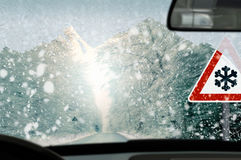 Winter driving - caution Royalty Free Stock Photography