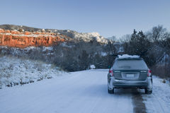 Winter driving in Colorado Stock Images