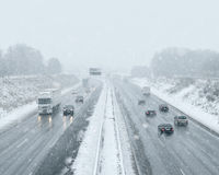 Winter Driving - Commuter Traffic Royalty Free Stock Photos