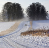 Winter Driving Conditions - Mist & Snow - England royalty free stock photos