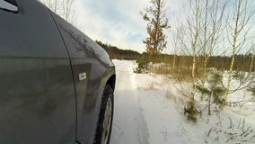 Winter driving in the country stock video