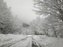 Winter Driving: Dangerous Mountain Road With Snow. View Of Passo Godi In Abruzzo, Italy Royalty Free Stock Photo