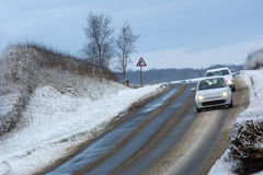 Winter Driving - Dawn on the North York Moors. Winter driving at dawn on the North York Moors in North Yorkshire in the United Kingdom Royalty Free Stock Photo