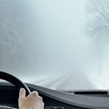 Winter Driving - Foggy Winter Road Stock Photos