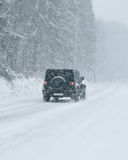 Winter Driving - Heavy Snowfall Stock Images