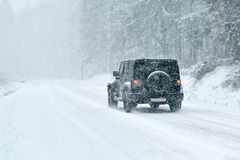 Winter Driving - Heavy Snowfall Stock Photography