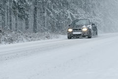 Winter Driving - Heavy Snowfall Royalty Free Stock Photos