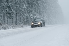 Winter Driving - Heavy Snowfall Royalty Free Stock Image