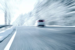 Winter Driving - Ice and snow on a country road Royalty Free Stock Photos