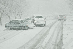 Winter Driving on Icy Roads Stock Photos