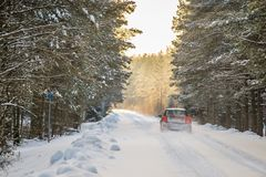 Free Winter Driving In Forest Royalty Free Stock Photos - 136512248