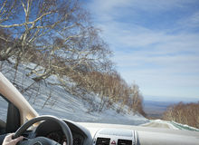 Winter driving in mountain area Stock Photography