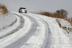 Winter driving - North Yorkshire in the UK Stock Photo