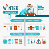 Winter Driving packing list infographics. For safety trip stock illustration