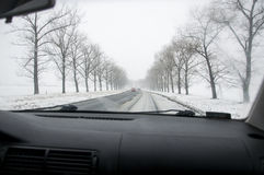 Winter Driving Royalty Free Stock Photography
