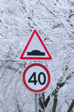 Winter driving, speed limit sign - 40. Royalty Free Stock Photos