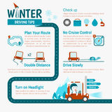 Winter Driving tips infographics. For safety trip stock illustration