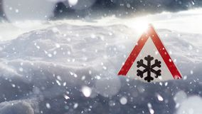 Free Winter Driving - Warning Sign - Risk Of Snow And Ice Stock Photo - 139571560
