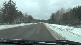 Winter Driving - Winter road stock video footage