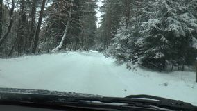 Winter Driving - Winter road stock footage