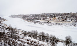 Winter dull landscape with frozen Volga River in Staritsa town Royalty Free Stock Photography