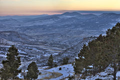 Winter dusk at Colorado Rocky Mountains Royalty Free Stock Image