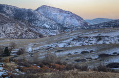 Winter dusk at mountain valley Royalty Free Stock Images