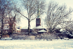 Winter dutch village Stock Image