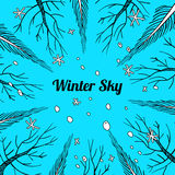 Winter or early spring background with trees and snowflakes. Vector winter or early spring background with trees and snowflakes, bright blue sky, text box Stock Photos
