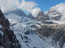Winter and early spring in snow covered dolomites Royalty Free Stock Image