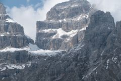 Winter and early spring in snow covered dolomites Stock Image