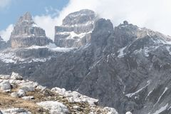 Winter and early spring in snow covered dolomites Stock Images