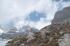 Winter and early spring in snow covered dolomites Stock Photo